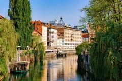 Riverside of Ljubljanica River in historical center of Ljubljana. Riverside of Ljubljanica River in the historical center of Ljubljana, Slovenia royalty free stock photos