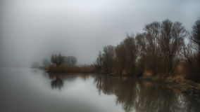 Riverside in mist Stock Photography