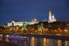 The riverside of moscow river in night time Royalty Free Stock Photo
