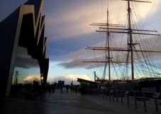 Riverside Museum, Glasgow. Sunset in Glasgow, at the Riverside Museum, Glasgow Royalty Free Stock Image