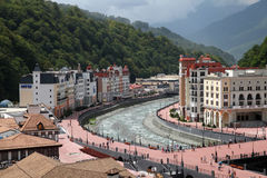 Riverside of Mzymta river in Rosa Khutor Stock Photo