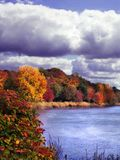 Riverside nature. Landscape on the riverside with autumnal trees and cloudy sky royalty free stock images