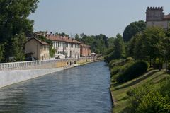 The riverside of Naviglio Grande Stock Image