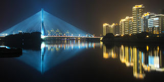 The riverside night. The riverside、The rivers、night、Night view、The scenery Stock Photos