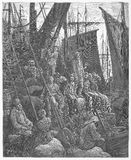 At the Riverside, off Billingsgate Fish Market. Picture from Gustave Dore's London: a Pilgrimage illustrated book published in 1873, London - UK Royalty Free Stock Photography