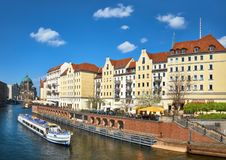 Riverside with old houses in East Center of Berlin Royalty Free Stock Images