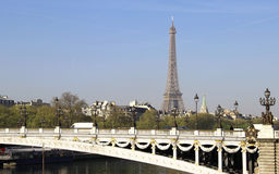 Riverside of Paris with Eiffel tower Royalty Free Stock Photography