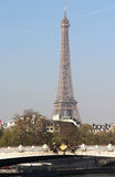 Riverside of Paris with Eiffel tower Royalty Free Stock Photo