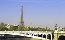 Riverside of Paris with Eiffel tower Stock Images