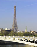 Riverside of Paris with Eiffel tower Stock Image