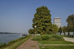 Riverside park in Ruse town along river Danube Stock Photo