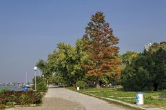 Riverside park in Ruse town along river Danube Stock Photos