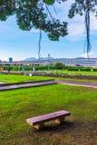 Riverside park scenery Stock Photo