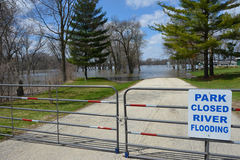 Riverside Park is under water and closed. Royalty Free Stock Photography