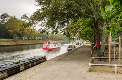 Riverside Path on a Misty Autumn Day Stock Image