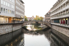 The riverside of Pegnitz river in Nuremberg town Royalty Free Stock Photography