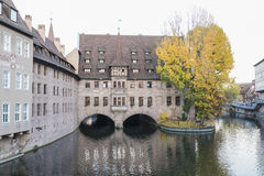 The riverside of Pegnitz river in Nuremberg town Royalty Free Stock Images