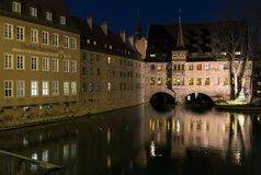 The riverside of Pegnitz river in Nuremberg town, Germany. Stock Photography
