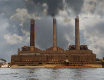 Riverside Polluting Powerplant Royalty Free Stock Photo