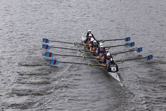 Riverside races in the Head of Charles Regatta Women's Youth Eights Royalty Free Stock Image