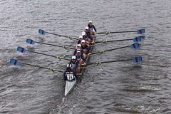 Riverside races in the Head of Charles Regatta Women's Youth Eights Stock Image