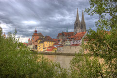Riverside at Regensburg Stock Photo