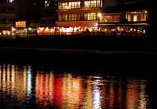 Riverside restaurant. A riverside restaurant from Kyoto city in a night Royalty Free Stock Images