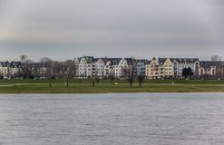Riverside Rhine Dusseldorf Germany. Buildings and River Winter Landscape Stock Photography