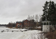 Riverside of river Oulujoku in Oulu Royalty Free Stock Photos
