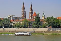 Riverside of river Tisza in city Szeged Stock Photography