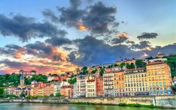 Riverside of the Saone in Lyon at sunset, France royalty free stock image