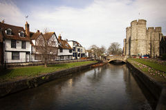 Riverside scenery on the River Stour at Canterbury Kent England Royalty Free Stock Photography