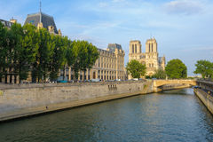 Riverside of seine river in Paris stock photo