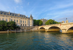 Riverside of seine river in Paris stock images