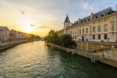Riverside of seine river in Paris royalty free stock photos