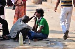 Riverside Shaving in Varanasi Stock Photos