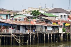 Riverside slums & Fishermen Life in Chao Phraya River Royalty Free Stock Image