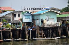 Riverside slums & Fishermen Life in Chao Phraya River Royalty Free Stock Photography