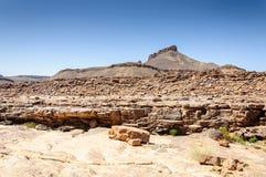 Riverside of the stone river, Hamada du Draa (Morocco) Royalty Free Stock Image