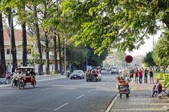 Riverside street in central phnom penh city cambodia Royalty Free Stock Image
