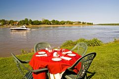 Riverside table stock photography