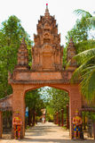 Riverside temple entrance of Kampot, Cambodia Royalty Free Stock Images