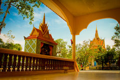 A riverside temple of Kampot, Cambodia Royalty Free Stock Image