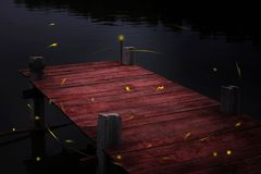 Riverside Terrace and fireflies. At silent night Stock Image