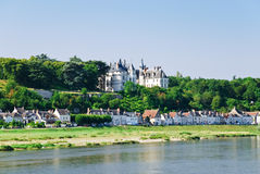 Riverside town Amboise on bank of Loire, France Stock Photos
