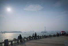 Riverside urban promenade at sunset in xiamen city china Stock Photos