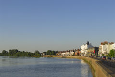 Riverside View. View of the RiverThames, London at Mortlake lit by the evening sun Stock Photo