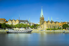 Riverside view of Bremen, Germany Royalty Free Stock Photos