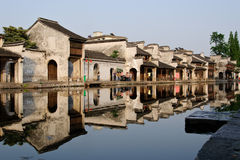 The riverside view in e traditional town in China Royalty Free Stock Image