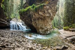 The cascading waterfalls of Johnston Canyon stock image